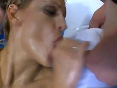 Peaches bitch rails cocks coupled with gets her body covered with make water