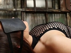 Fishnet stockinged cunt gets pussy rammed