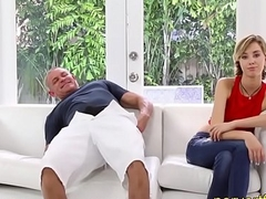 StepDaughter gets drilled by superannuated StepDad next to Sister