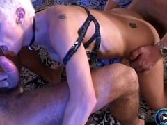 Jizz-swapping Mary getting down and dirty with two fat cocks