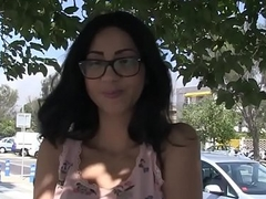 Busty latina gets facial