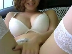 Horny Slut in White Stockings Plays with Yourselves On the top of Ehotcam.com.com