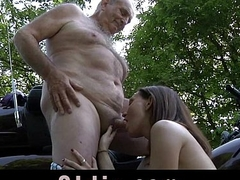 Young midget girl swallows old cum after grandpa cock ride