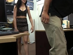 Perky tits babe gives a blowjob and railed at the pawnshop